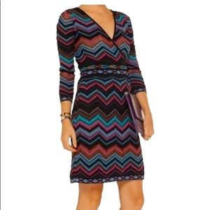 M Missoni Multi Coloured Zigzag Knit Dress